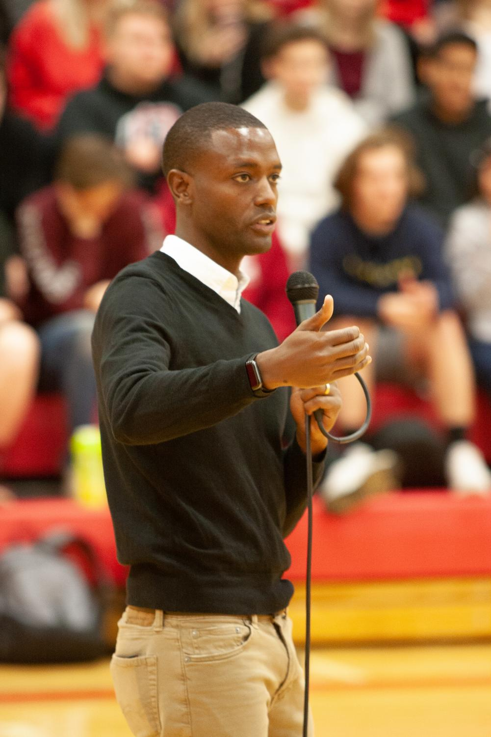 Buey Ray Tut, founder of Aqua Africa, speaks to students at EHS. Tut was chosen as this year's Student Council Speaker.
