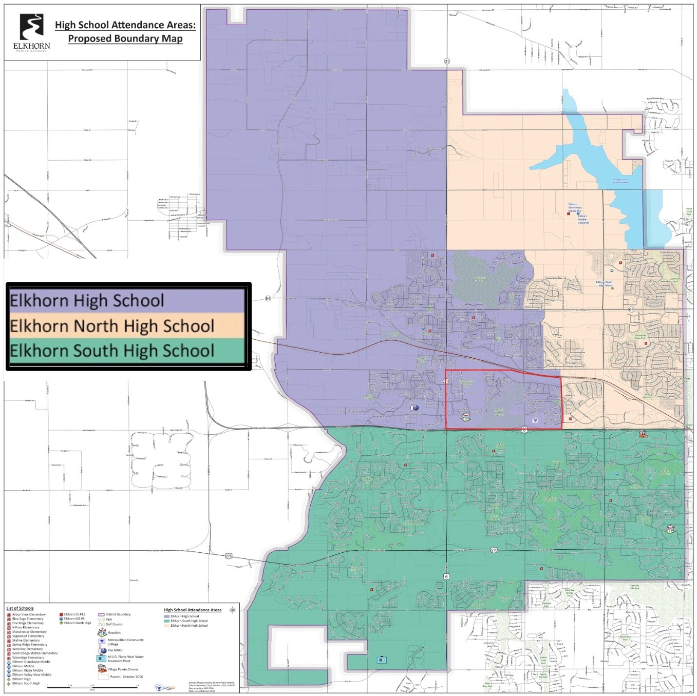 District boundaries for Elkhorn High and Elkhorn North as set by the Elkhorn School Board.