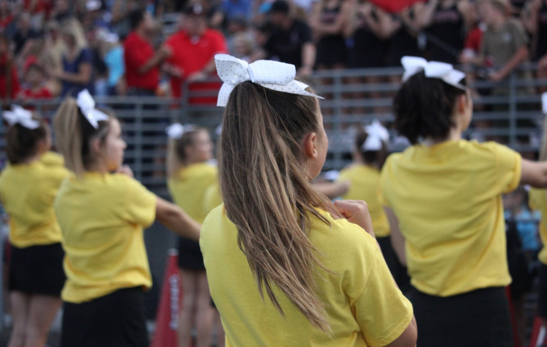 Cheerleaders+getting+the+blood+pumping+through+the+students+by+cheering+on+both+the+our+football+team+and+students+in+the+stands.