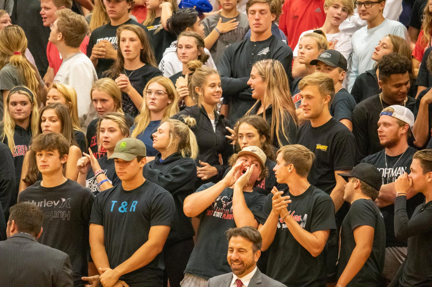 The+Elkhorn+student+section+after+yelling+back+the+%22We%27ve+got+spirit%2C+yes+we+do%22+cheer.+