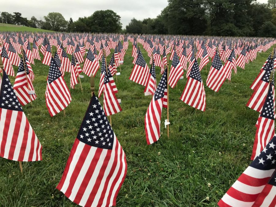 Numerous+American+flags+stand+proudly+for+a+9%2F11+memorial.+Each+flag+represents+a+person+that+died+on+September+11th%2C+2001.