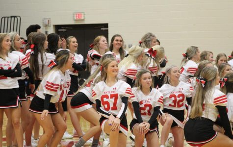 The cheerleaders and the dance team performed together at the pep rally.