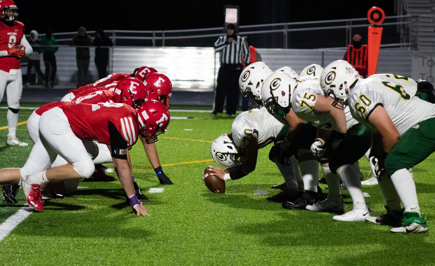 The Antler defensive line prepares to take off against the Gretna offense during the first quarter. The Dragons offensive line allowed their backs to run for over 200 yards. Running back Trevor Marshall was the leading rusher for over 224 yards.