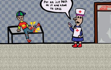 An editorial cartoon about the lack of a full time nurse at public schools