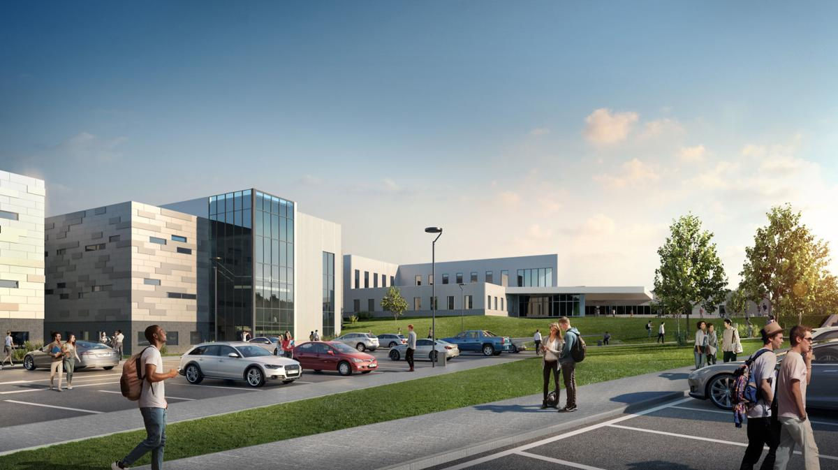 A 3D rendering of the new high school, Elkhorn North.