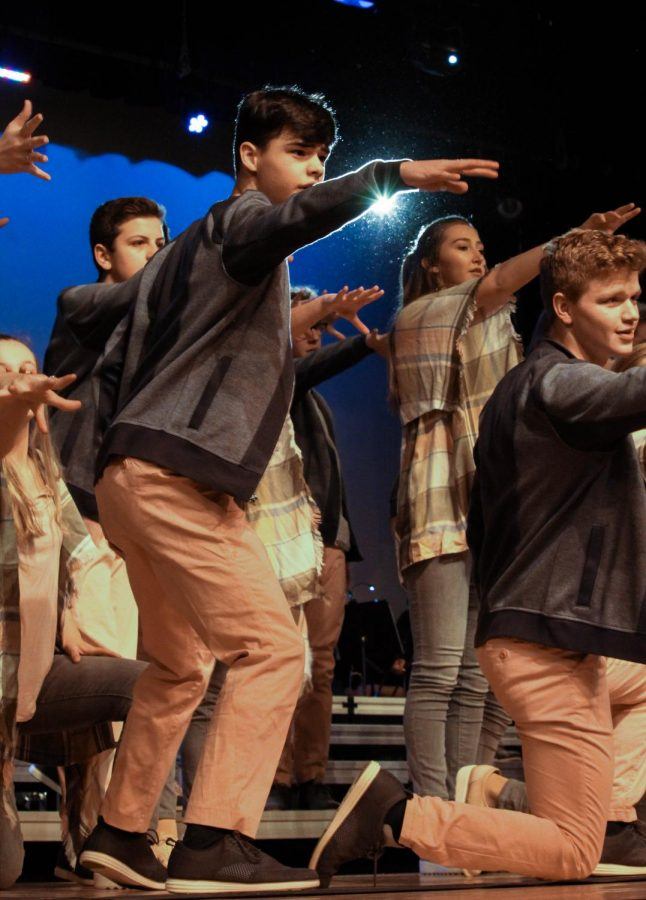 Sophomore+Nathan+Ray+and+junior+Ben+Hastreiter+belt+their+hearts+out+onstage+while+performing+their+2019-2020+%22Doors%22+show.