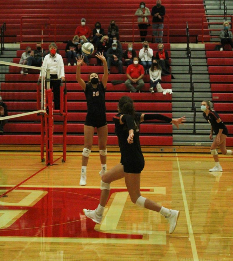 Senior, Abbie Nadgwick, sets the ball up for her teammate to spike it.