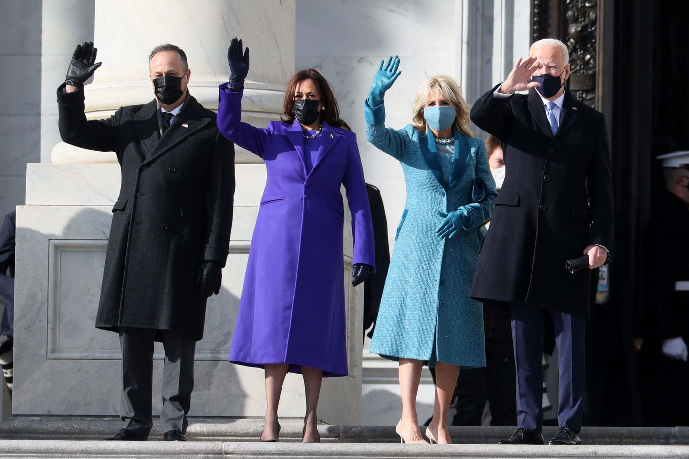 Joe Biden and Kamala Harris wave to the crowd after being sworn in on January 20th.
