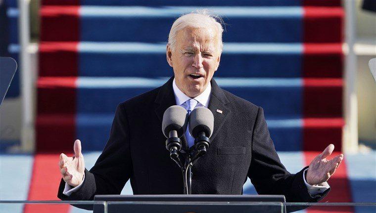 President Biden giving his inaugural speech.