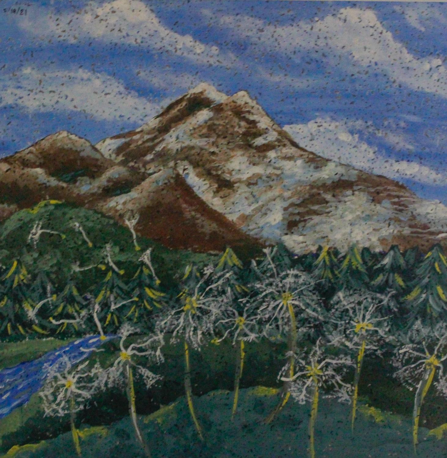 A painting by a student in the library.