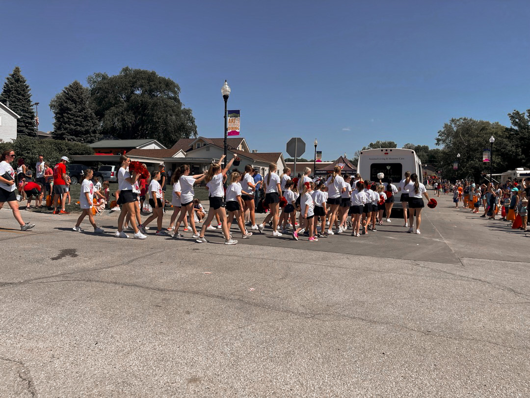 The Elkhorn dance team walking in the parade.