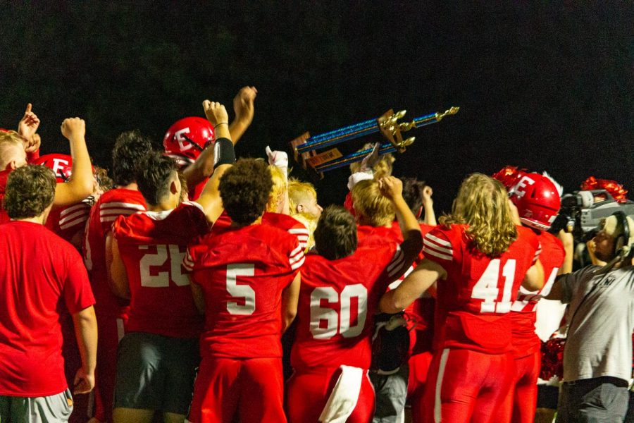 Antlers fight to win the homecoming game and get the Thursday Night Lights trophy. Antlers win 23-21 against Blair. Thursday, September 16.