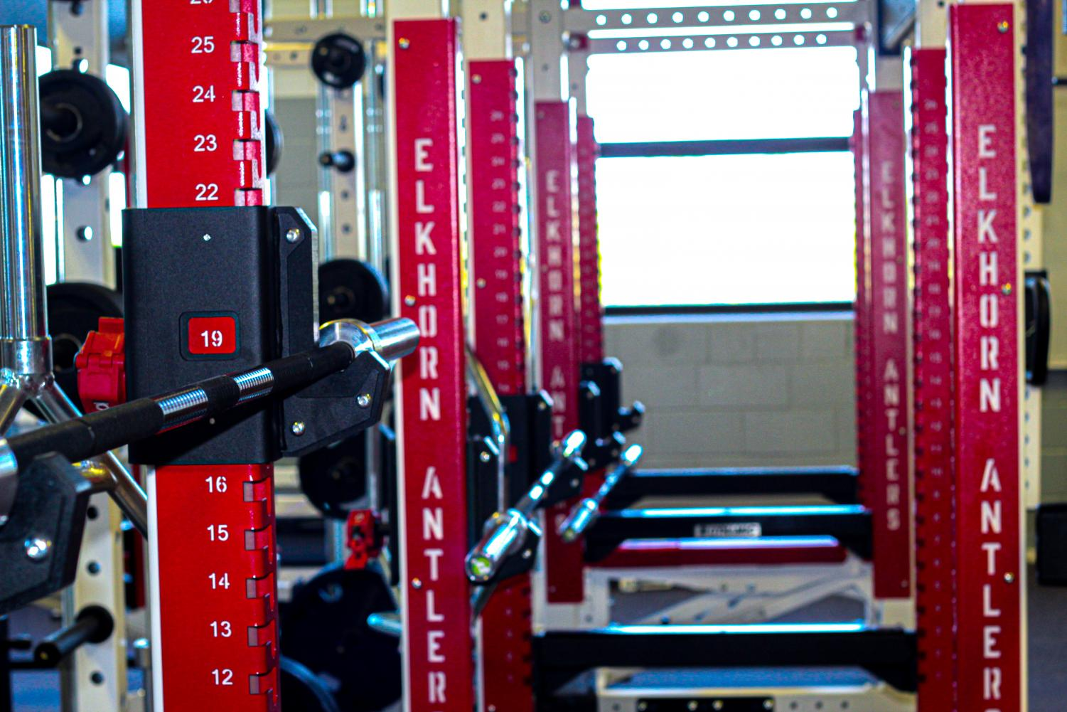 New squat racks are one of many new features in the renovated weight room. PE classes and sports teams were first able to use the equipment in late August.