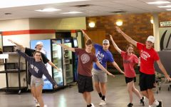 Excel members McKenna Flynn, Will Oestmann, Noah Lindberg, Celia McCaslin, Aiden Sufficool, and Hudson Goldal practice choreography.