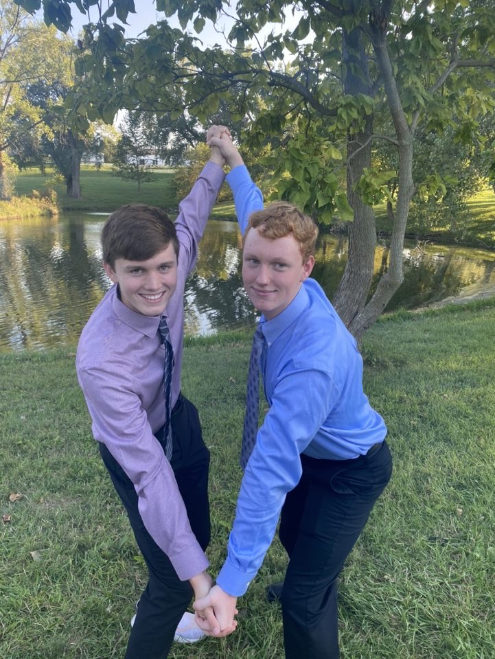 Chase Ruch and Jake Uehling pose for homecoming photos.